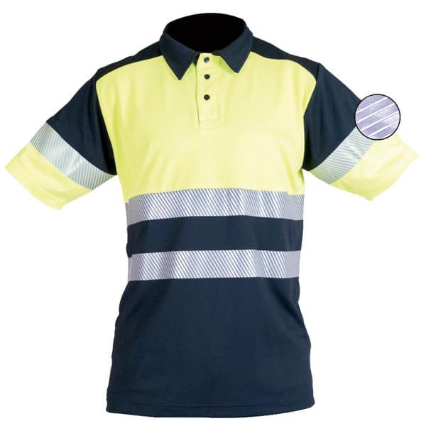 Polo de manga corta reflectante discontinuo en ropa de protección de alta visibilidad