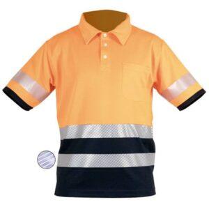 Polo naranja de manga corta en ropa de protección contra riesgos electrostáticos