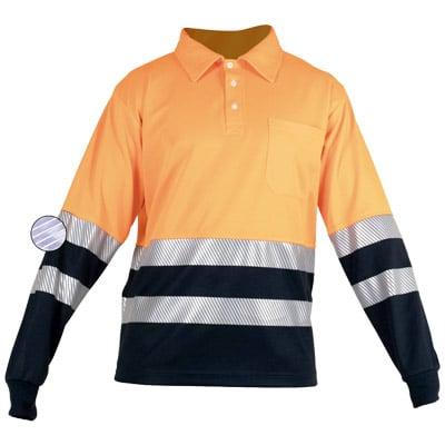 Polo naranja de manga larga con botones en ropa de protección contra riesgos electrostaticos
