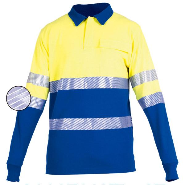 Polo de manga larga azul y amarillo en ropa de protección para calor y llama y arco electrico