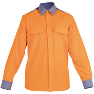Ropa de protección de calor, llama y arco eléctrico impermeable en camisa con retrorreflectante en camisa cerrada con botones ocultos