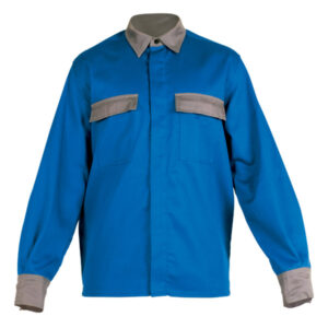 Camisa cerrada azul de ropa de protección para calor, llama y arco eléctrico