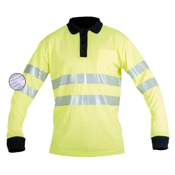 Polo de manga larga reflectante en ropa de protección para baja visibilidad