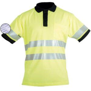 Polo de manga corta reflectante y cuello de canalé en ropa de trabajo de alta visibilidad