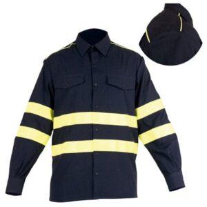 Camise cerrada con franjas reflectantes en ropa de protección contra riesgos electrostáticos