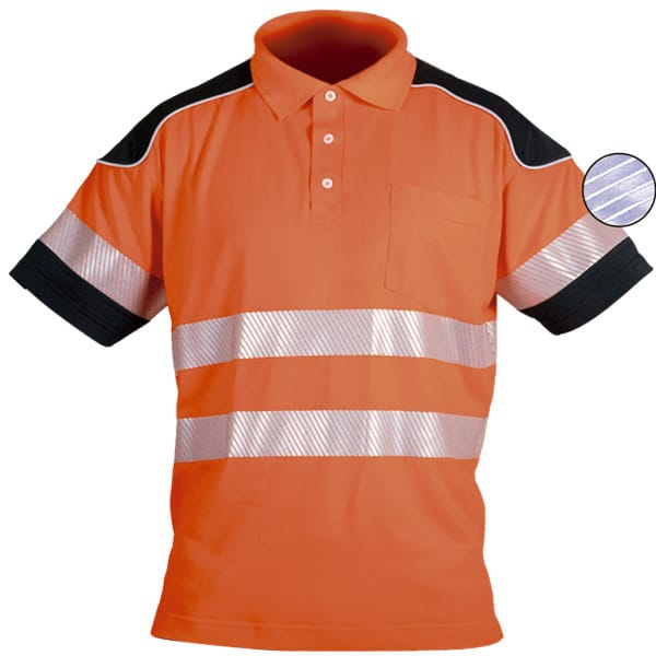 Polo de manga corta naranja y reflectante en ropa de trabajo para baja visibilidad