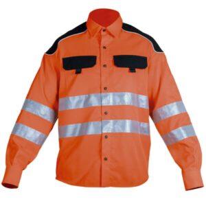 Camisa cerrada reflectante en ropa de protección para baja visibilidad