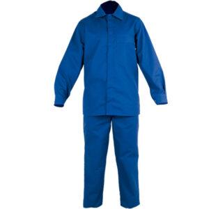 Camisa cerrada con broches azul en ropa de protección química