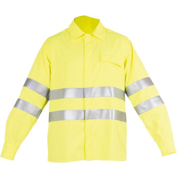 Camisa con botones ocultos y franjas reflectantes en ropa de protección para calor y llama y baja visibilidad