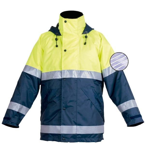 Chaqueton impermeable reflectante discontinuo en ropa de proteccion de alta visibilidad