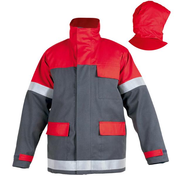 Parka impermeable con capucha desmontable roja en ropa de trabajo