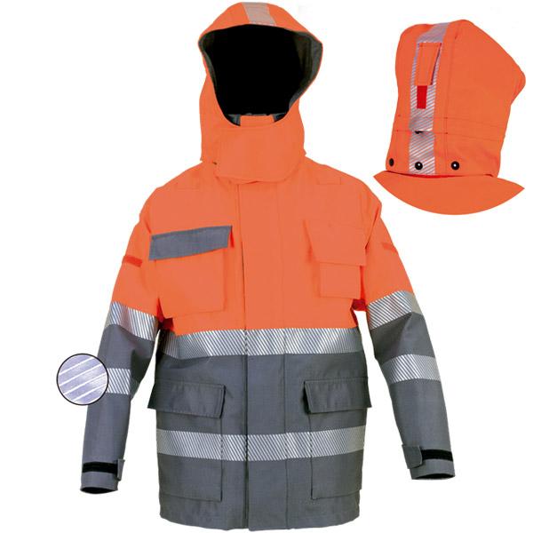 Parka impermeable con capucha desmontable naranja en ropa de proteccion de calor y llama y arco electrico