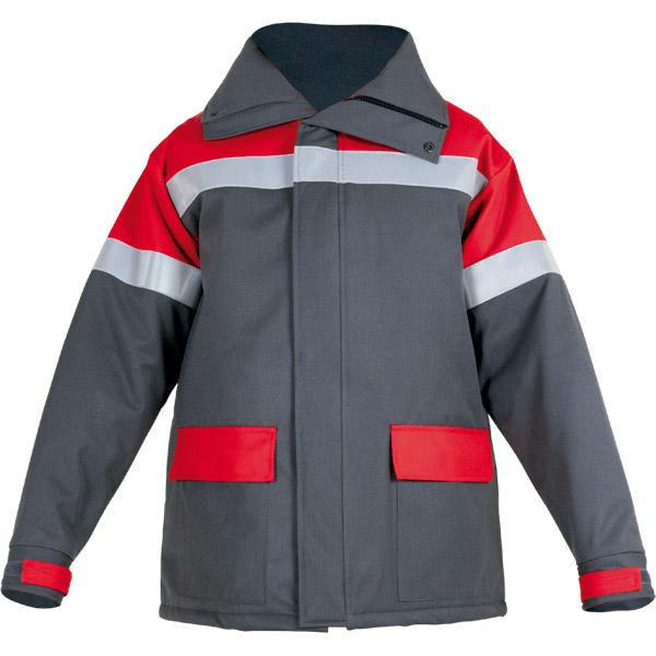 Chaqueton impermeable con capucha escamoteable gris en ropa de proteccion para calor y llama y arco electrico
