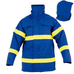 Chaquetón impermeable con escamoteable azul en ropa de protección para calor y llama y arco eléctrico