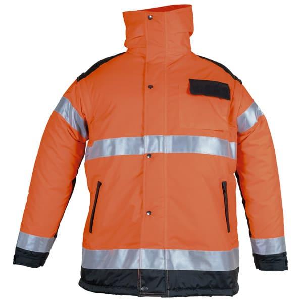 Chaquetón naranja acolchado con capucha en ropa de protección
