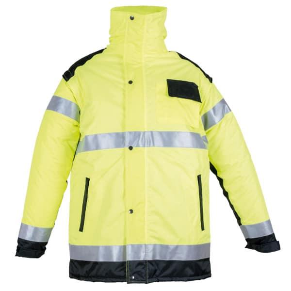 Chaquetón acolchado con capucha en ropa de protección