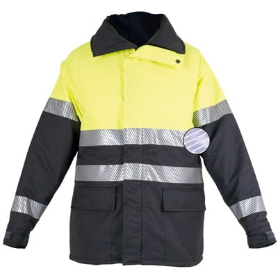 Chaquetón acolchado con cremallera amarillo en ropa de protección contra riesgos electrostaticos