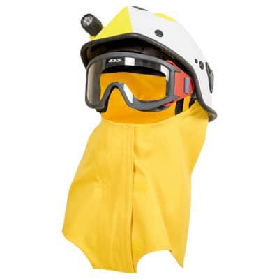 Cubrenucas acoplable a casco mediante velcro en ropa de protección de calor y llama y bombero forestal