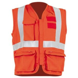 Chaleco multibolsillos naranja para ropa de protección en calor, llama o bombero forestal