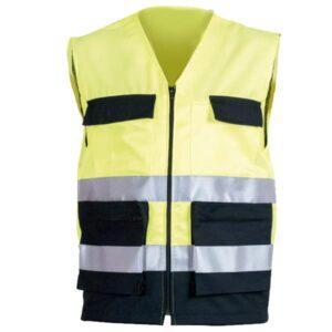 Chaleco multibolsillos amarillo en ropa de protección en alta visibilidad