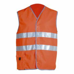 Chaleco cerrado con broches en ropa de protección de alta visibilidad
