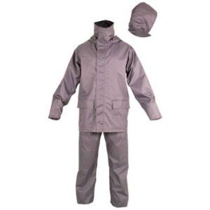 Conjunto impermeable gris en ropa de proteccion contra riesgos electrostaticos