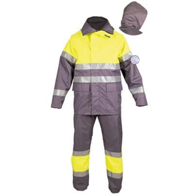 Conjunto impermeable gris reflectante en ropa de protección contra riesgos electrostaticos
