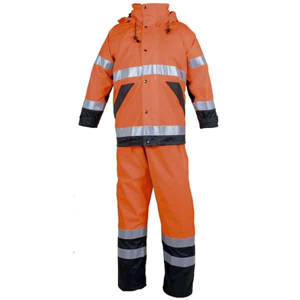 Conjunto impermeable naranja reflectante en ropa de trabajo de alta visibilidad