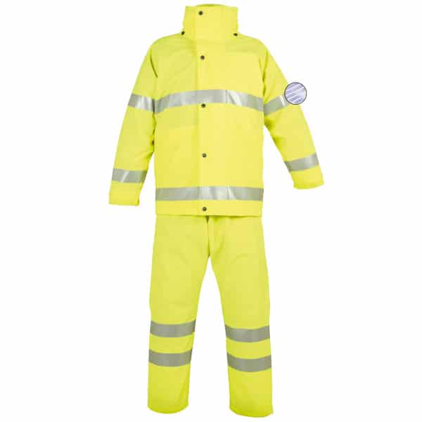 Conjunto impermeable amarillo reflectante de alta visibilidad en ropa de protección